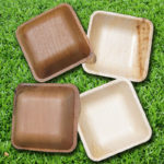 ARECA PALM LEAF PLATES 4.5inch square bowl